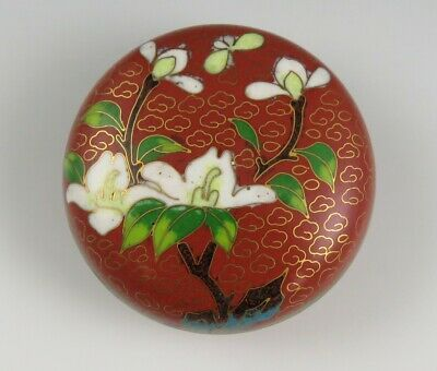 Handcrafted Vintage 1970s Chinese Cloisonné Enamel on Brass Round Trinket Box