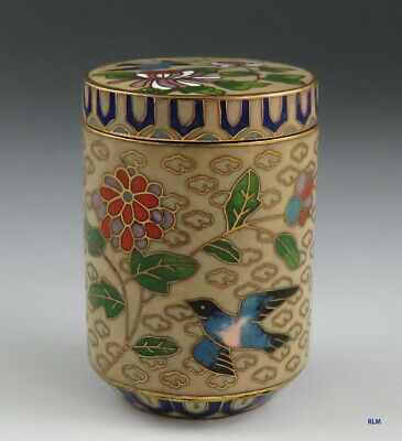 Vintage 1970s Chinese Cloisonne Enamel Gilt Brass Bird & Flower Round Box