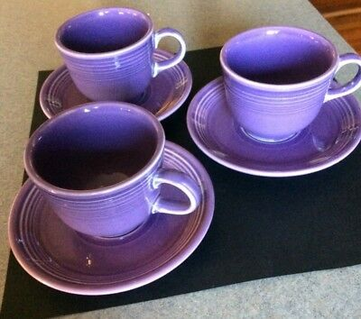 Lot of 3 Fiestaware Lilac Cup Saucer retired color Homer Laughlin Fiesta