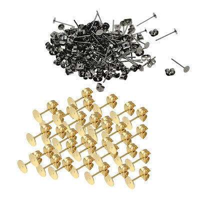 300Packs 4mm Round Flat Stud Earring Posts with Back Jewelry Making Findings