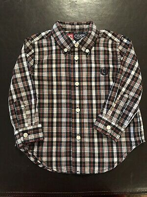 Chaps 18 Months Toddler Boys Navy Plaid Long Sleeve Shirt Cotton Blend L