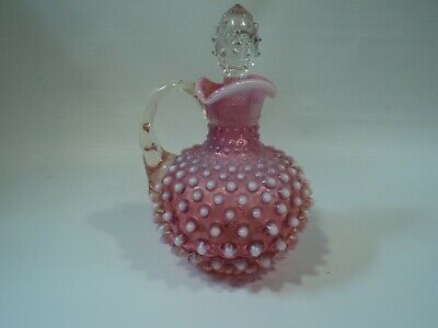 Fenton Cranberry Opalescent Hobnail Glass Clear Handle & Clear Stopper Cruet