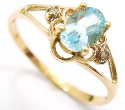 Syjewellery 9Ct Yellow Gold Oval Natural Blue Topaz & Diamond Ring    R991