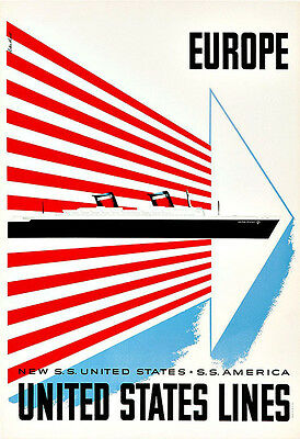 TRAVEL UNITED STATES LINES SHIP LINER SAIL USA VINTAGE ADVERTISING POSTER 2553PY