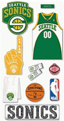 BASKETBALL SEATTLE SONICS Mascot Fan Jersey Play NBA Team Stickers