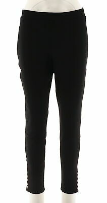 a51b90fe6a Lisa Rinna Collection Womens Knit Legging Ankle Snap Placket Black M NEW  A287389