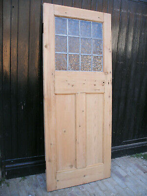 Reclaimed 1920s / 1930s stripped pine door with original leaded glass