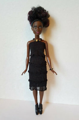 PETITE BARBIE DOLL CLOTHES Black Ruffle DRESS and JEWELRY HM Fashion NO DOLL d4e