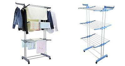 Foldable Extra Large 3 Tier Clothes Airer Laundry Dryer Rack Blue Pink Grey