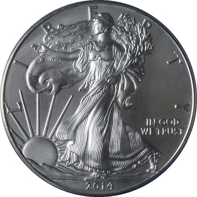 2014 Silver American Eagle $1 PCGS MS70 First Strike Flag Blue Label - STOCK
