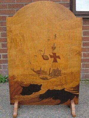 Art Deco antique specimen wood marquetry inlaid galleon spark guard fire screen