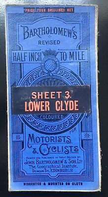 Map Bartholomew's - 2 miles/1 inch Sheet 2 Lower Clyde Antique Vintage