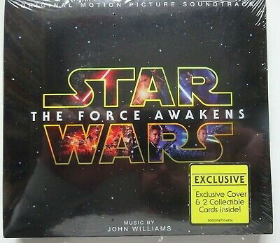 JOHN WILLIAMS Star Wars The Force Awakens Soundtrack - Deluxe CD & 2 Cards NEW!