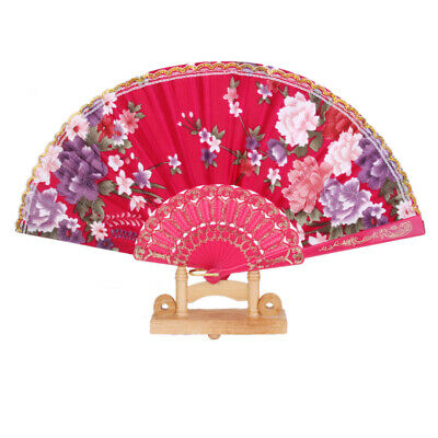 Rose Red Spanish Flower Floral Fabric Folding Hand Dancing Fan Party Favor