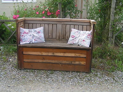 Reclaimed old vintage pitch pine Rustic Church pew 2