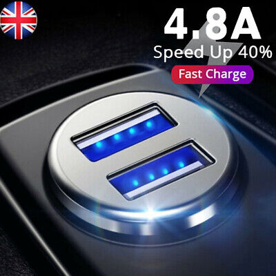 Fast Charging 4.8A Car Charger Dual USB LED Metal Mini For iPhone Samsung Huawei
