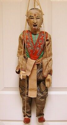 "c1780 Antique Lg 37"" Marionette Thailand Siam Hand Carved Wood Silk Gold Fabric"