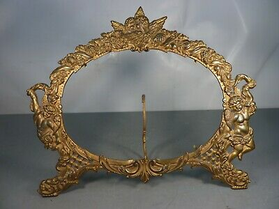 Antique Victorian Ornate Brass Picture Mirror Frame Angels Kissing Cherubs Easel