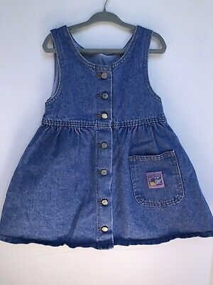 d6fda6a7a880 Vintage Toddler Girl LEE JEANS Button Down Denim Overalls Dress Size 4