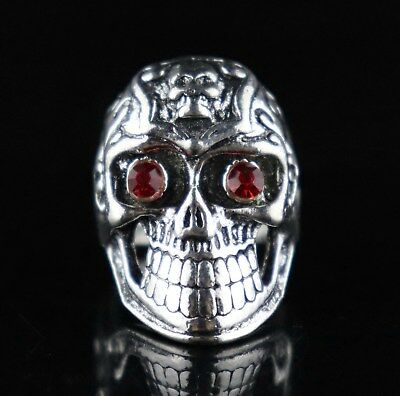 Collect China Tibet Silver Hand Carve Vicious Skull Exorcism Bring Lucky Ring