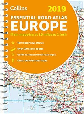 2019 Collins Essential Road Atlas Europe by Collins Maps New Spiral bound Book