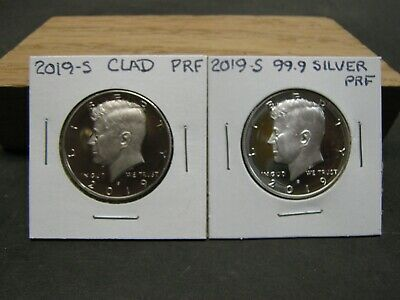 2019 S Clad  2019 S Silver (99.9) Proof Kennedy Half Dollars