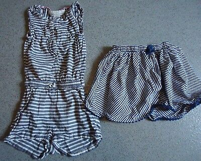 Next/H&M elasticated striped waist skirt & sleeveless Jumpsuit shorts age: 3-4 Y