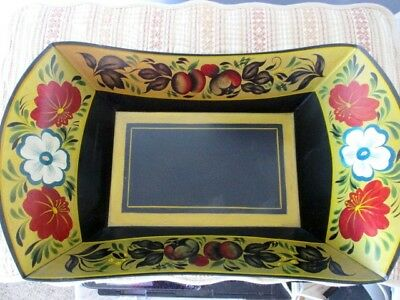Vintage Hand Painted Black Red Gold New England Tole Bread Muffin Pan Tray