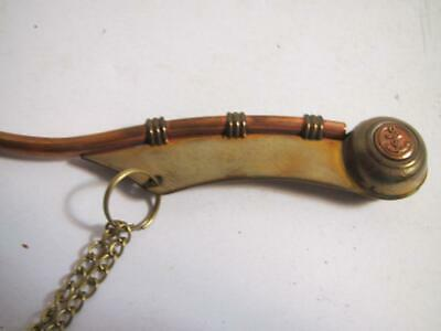 Brass / Copper Bosun Call w/ Box ~ Boatswains Whistle ~ Nautical Navy Necklace