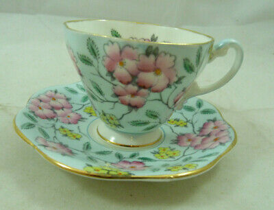 Vintage Foley Teacup Springdale Pink Floral Bone China Cup Saucer Demitasse Set