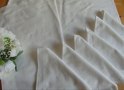 VINTAGE UNUSED SNOW DAMASK CRYSANTHEMUS PATTERN TABLECLOTH & 6 NAPKINS 150x127