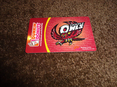 Dunkin Donuts gift card no value cover: Temple Owls NEW