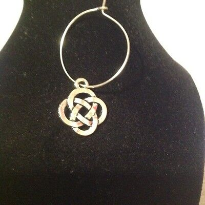 chinese knot wine glass charm  silver plated.