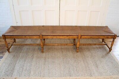 Vintage French Country Wood & Rush Seat Bench 8'