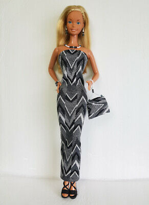 SuperSize Barbie Clothes Dress beaded Purse & Jewelry HM Fashion NO DOLL d4e