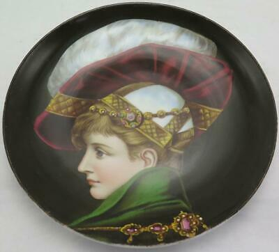 19th C French Porcelain Plate Hand Painted Portrait of a Boy Prince w/ Jewels