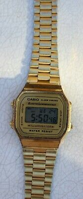 Casio Men's 'Vintage' Digital Illuminator Gold-Tone Stainless Steel Watch A168WG