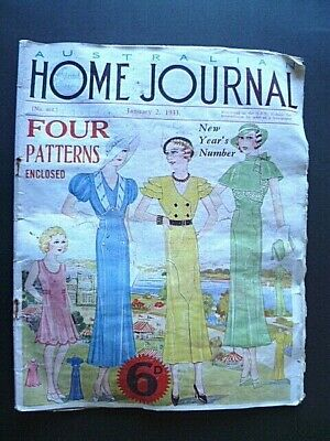 VINTAGE 1930's AUSTRALIAN HOME JOURNAL MAGAZINE ~ JANUARY 2, 1933 ~WITH PATTERNS