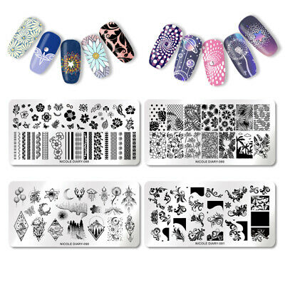 NICOLE DIARY Nail Stamping Plates Geometry Flower Leaf Summer Manicure Template