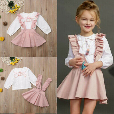 2PCS Toddler Kids Baby Girl Winter Clothes White Tops+Pants Overall Outfits