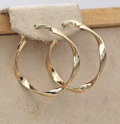 18K Gold Filled Earrings Big Twisted Retro Round Hoop Bohemia Circle Clip-On HB