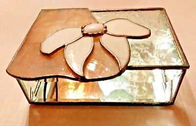 Beveled Glass JEWELRY TRINKET BOX Stained Glass Glass Bow Hinged Layer Top  #44