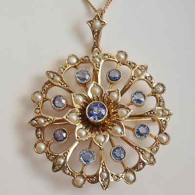 Fine Antique Edwardian 9ct Gold Sapphire & Pearl Openwork Pendant Necklace c1905