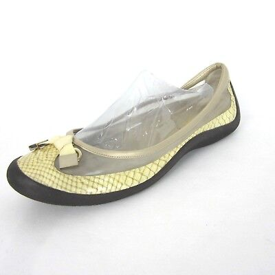 3f1e65cb3d0 COLE HAAN 11B Ivory Beige Yellow Snake Loafer Slip On EUC Driving Moc Womens