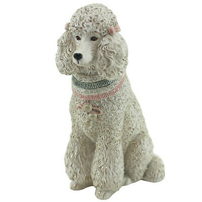 Poodle Sitting Dog Resin Figurine - White Approx 11cm High