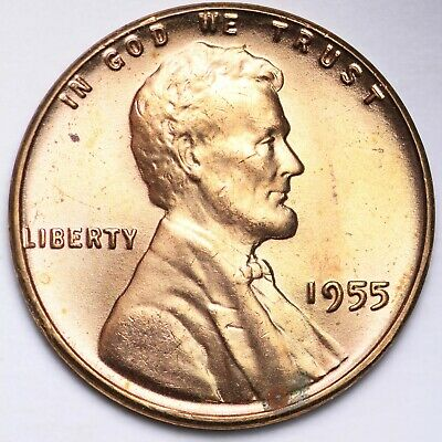 Beautiful 1955 S Lincoln Wheat Cent Penny BU BLAZING RED UNCIRCULATED From Rolls