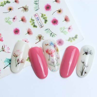 Colorful 3D Rose Flower Water Decals Elegant Floral Nail Art Full Wraps Stickers