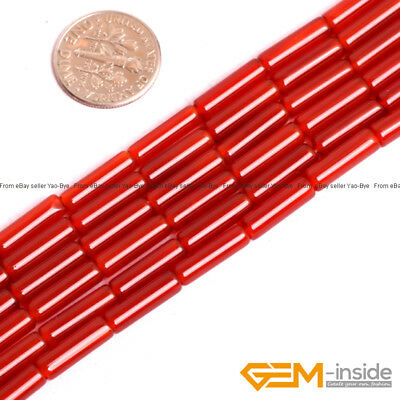 """Natural Stone Red Agate Column Tube Beads For Jewelry Making Strand 15"""""""
