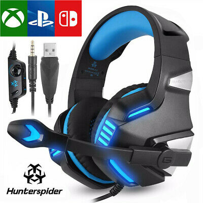 3.5mm Wired Gaming Headset Mic LED Headphone For iPhone iPad PC PS4 Xbox One