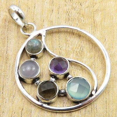 Costume Jewelry ! 925 Silver Plated High End Multi Gemstone STYLISH Pendant 1.7""